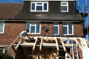 rear elevation dormer complete. extension started