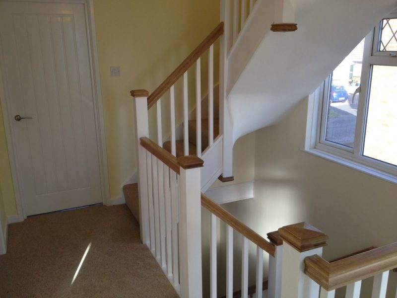 Oak handrail to staircase loft conversion in Portsmouth