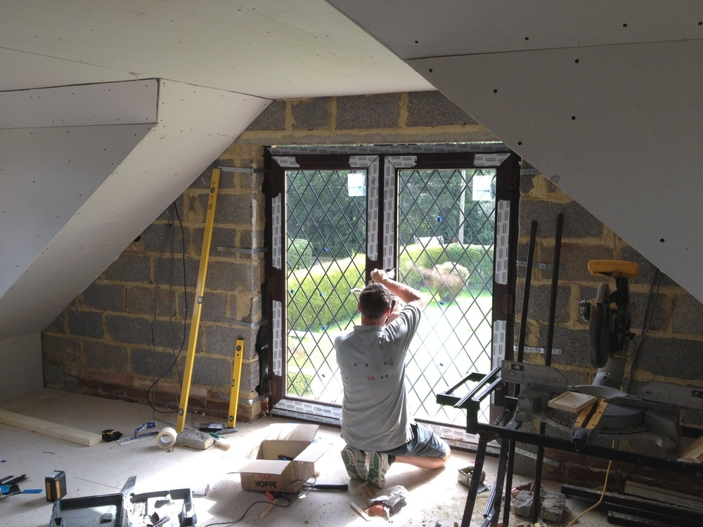 French doors to a loft conversion gable wall