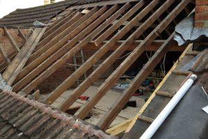 Start of dormer to a loft conversion rear elevation.