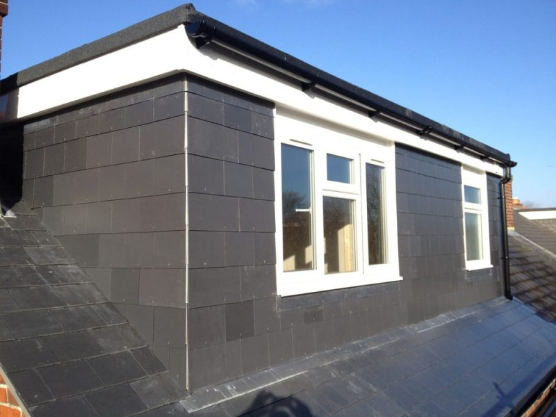 Rear elevation flat roof dormer with slate roof to a loft conversion in Portsmouth.