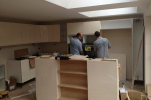 Installation of kitchen.