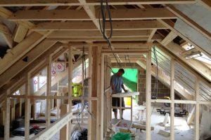 Interior timber stud walls.