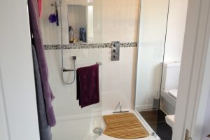 Shower room to a loft conversion in Portsmouth. Shower room in dormer.