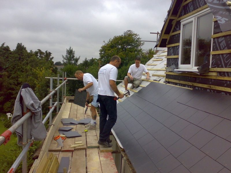 Slate roof being fitted to a loft conversion with dormer