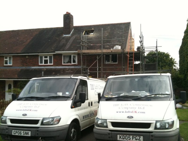 Front elevation to a loft conversion in Portsmouth, Velux window and gable wall. case study 9.
