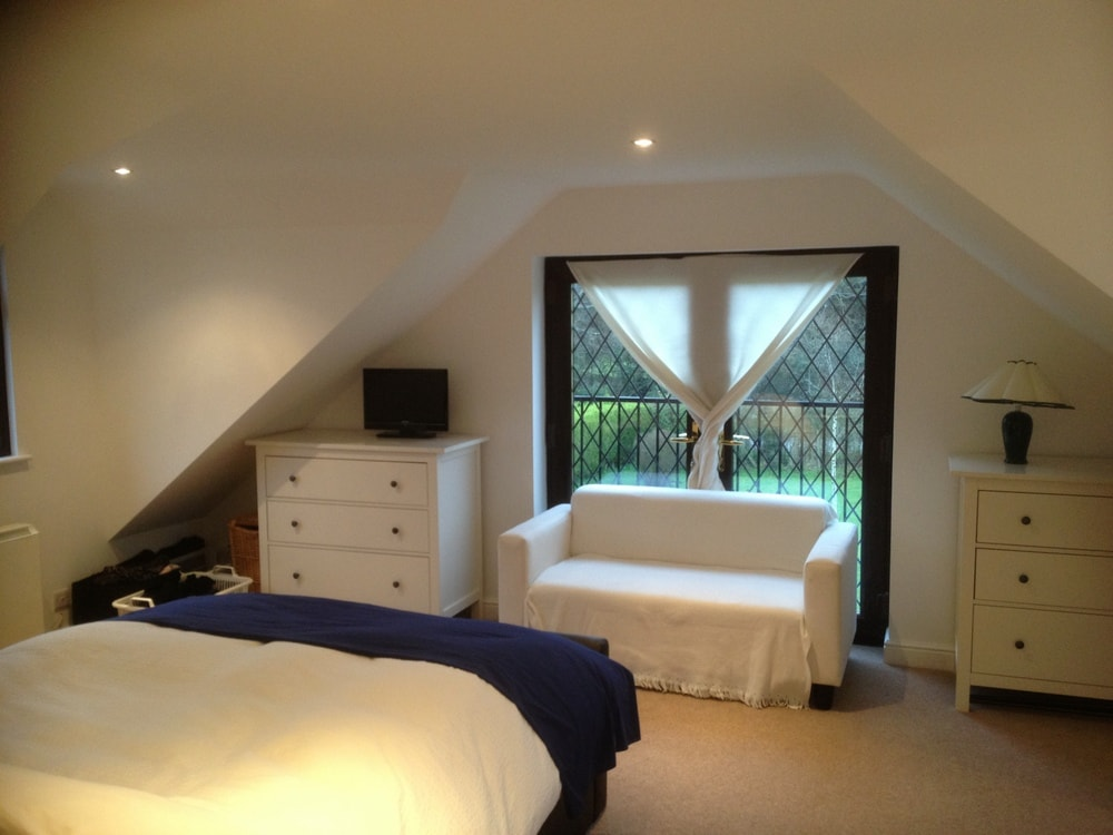 French doors to a gable wall bungalow