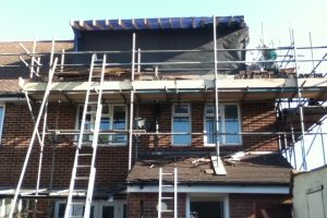 Construction of rear elevation flat roof dormer day 2 of loft conversion in Portsmouth