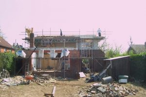 Rear elevation of detached house loft conversion and extension build