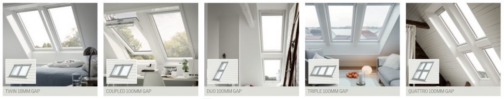 Velux window combinations for a loft conversion.