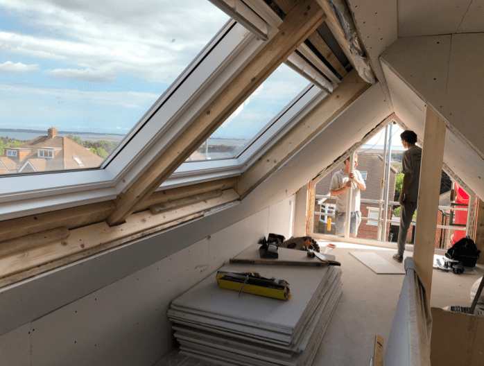 Loft conversion in Portsmouth, gable end wall, 1 bedroom with en-suite shower room -min