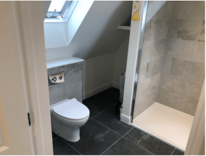 An en-suite shower room to a loft conversion in Cousins Grove, Southsea