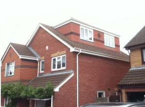 Side elevation flat roof dormer to loft conversion 1 bedroom with play room