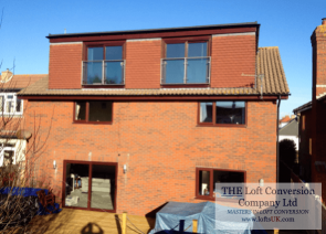 Juliet balconies to a loft conversion in Portsmouth showing rear elevation flat roof dormer