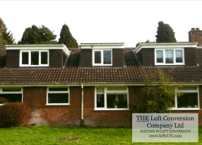 Loft conversion to a bungalow with 3 flat roof dormers