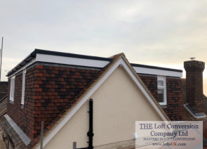 Side elevation gable with dormers front and rear to a loft conversion.