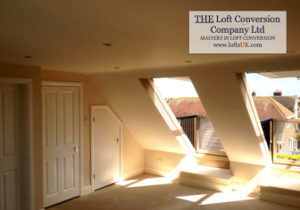 A loft conversion in Portsmouth with Velux Cabrio balconies to the front elevation.