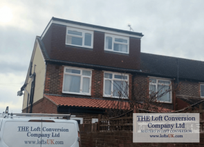 Loft conversion with rear elevation flat roof dormer.