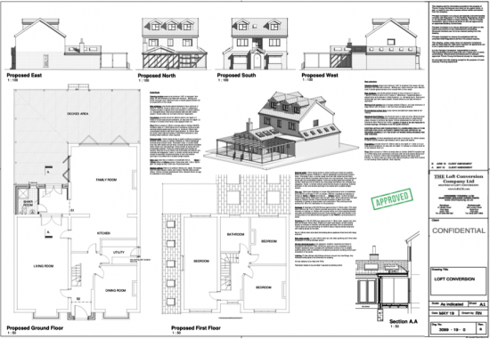 Architectural drawings of a loft conversion & extension in Drayton, Portsmouth area.