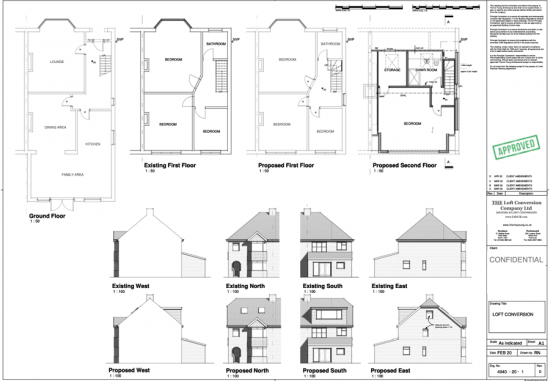 Architectural drawings of a loft conversion in Portsmouth area