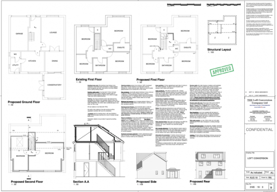 Architectural drawings of a loft conversion in Portsmouth area.