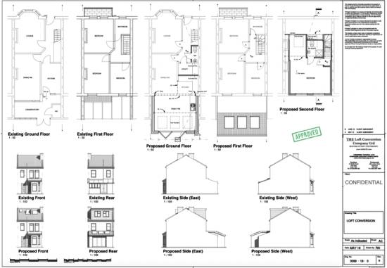 Architectural drawings of a loft conversion in Portsmouth.
