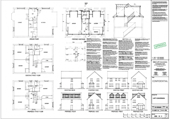 Architectural drawings of loft conversion in Portsmouth.