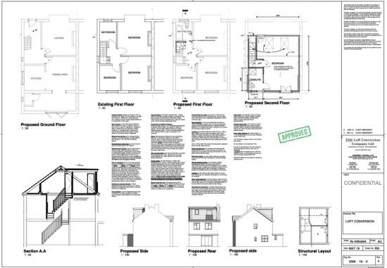 Architectural plans of a loft conversion in Portsmouth.