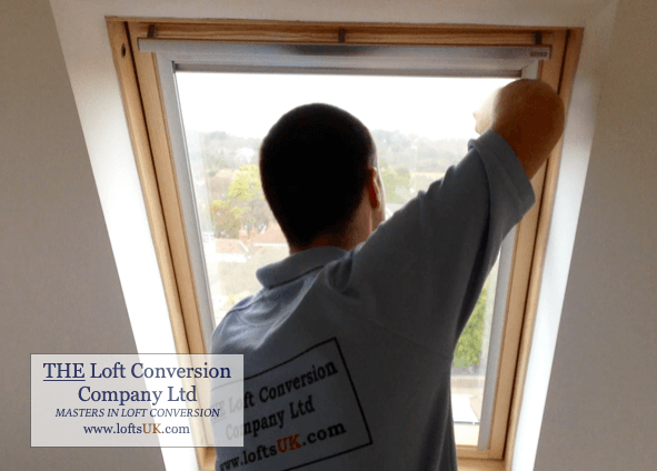 Fitting of Velux blinds to a loft conversion.