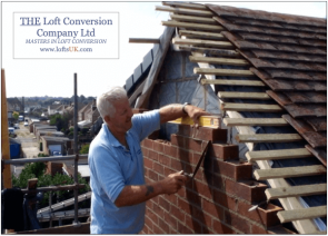 Gable wall constructed with face brick. Loft conversion in Portsmouth with views across the city.