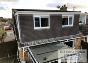 Bungalow loft conversion in Portsmouth with rear elevation flat roof dormer to create 2 bedrooms