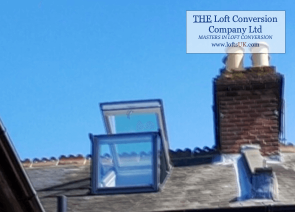 Single Velux Cabrio balcony unit installed to a loft conversion in Portsmouth. Position on rear elevation.