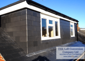 rear elevation flat roof dormer constructed with slate to a loft conversion in Portsmouth area.