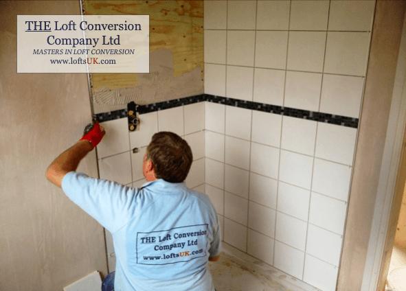 Tiling the en-suite shower room in a loft conversion. Shower suite position in the front elevation dormer.