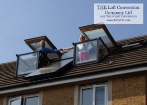 Velux Cabrio balcony to a loft conversion in Portsmouth with solar panel between units.